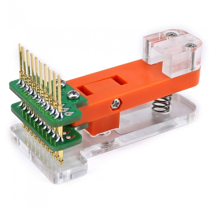 OPEN-SMART Bootloader Programmer Module Test Tool PCB Test FixtureOther Accessories<br>Form  ColorOrange + Transparent WhiteModelN/AQuantity1 pieceMaterialPCB + Alloy + PlasticEnglish Manual / SpecYesDownload Link   http://drive.google.com/drive/folders/0B6uNNXJ2z4CxcUl5R2gxV05XdW8?usp=sharingPacking List1 x Test Fixture<br>