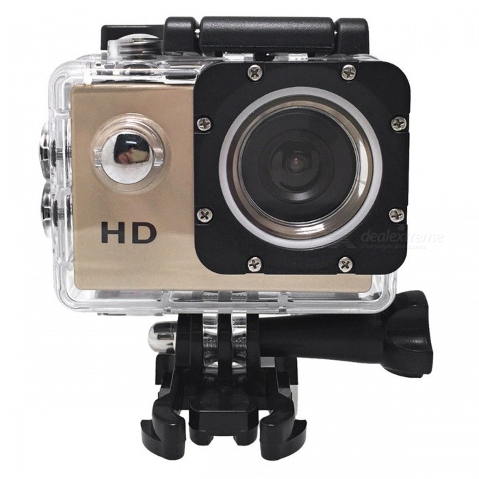 HD 720P 2 LCD Mini DV Action Sport Camera - GoldenSport Cameras<br>Form  ColorGolden + BlackShade Of ColorGoldMaterialABSQuantity1 pieceImage SensorCMOSAnti-ShakeYesFocal Distance5M/3M/2M/1 mFocusing Range5M/3M/2M/1MEffective Pixels1280 * 720 / 30FPSImagesJPGStill Image Resolution1280 * 720 / 30FPSVideoAVIVideo Resolution1280 * 720 / 30FPSVideo Frame Rate30Cycle RecordYesISONoExposure CompensationNoSupports Card TypeSDSupports Max. Capacity32 GBLCD ScreenYesScreen Size2 inchesBattery Measured Capacity 900 mAhNominal Capacity900 mAhBattery included or notYesWater ResistantOthers,With waterproof case for taking wonderful video underwater up to 30 meters.Packing List1 x Sport Camera 1 x Battery 1 x USB Cable 1 x Waterproof Case 1 x Clip4 x Bandages 1 x Bicycle Stand2 x 3M Adhensives 1 x Base Mount1 x Mount1 x Switch Support with Long Screw1 x User Manual (English)<br>
