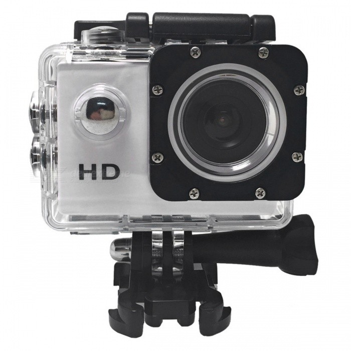 HD 720P 2 LCD Mini DV Action Sport Camera - WhiteSport Cameras<br>Form  ColorWhite + BlackShade Of ColorWhiteMaterialABSQuantity1 pieceImage SensorCMOSAnti-ShakeYesFocal Distance5M/3M/2M/1 mFocusing Range5M/3M/2M/1MEffective Pixels1280 * 720 / 30FPSImagesJPGStill Image Resolution1280 * 720 / 30FPSVideoAVIVideo Resolution1280 * 720 / 30FPSVideo Frame Rate30Cycle RecordYesISONoExposure CompensationNoSupports Card TypeSDSupports Max. Capacity32 GBLCD ScreenYesScreen Size2 inchesBattery Measured Capacity 900 mAhNominal Capacity900 mAhBattery included or notYesWater ResistantOthers,With waterproof case for taking wonderful video underwater up to 30 meters.Packing List1 x Sport Camera 1 x Battery 1 x USB Cable 1 x Waterproof Case 1 x Clip4 x Bandages 1 x Bicycle Stand2 x 3M Adhensives 1 x Base Mount1 x Mount1 x Switch Support with Long Screw1 x User Manual (English)<br>