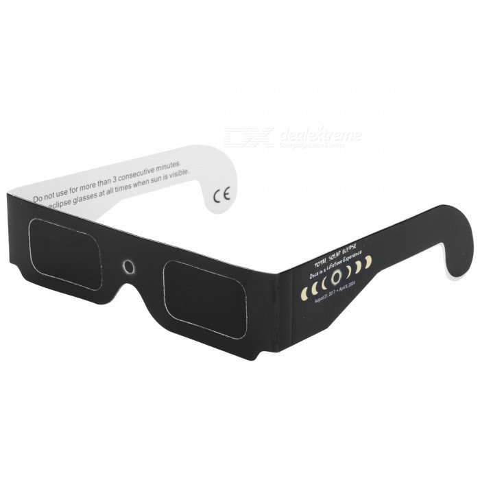 Portable Total Solar Eclipse Glasses Goggles - Black