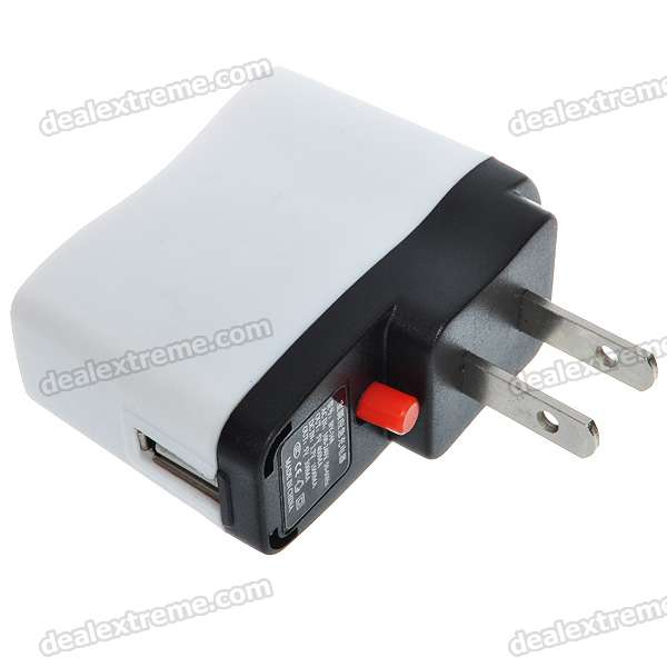 Portable USB Rechargeable 1000mAh Emergency Battery Pack (AC 100~240V/US Plug)