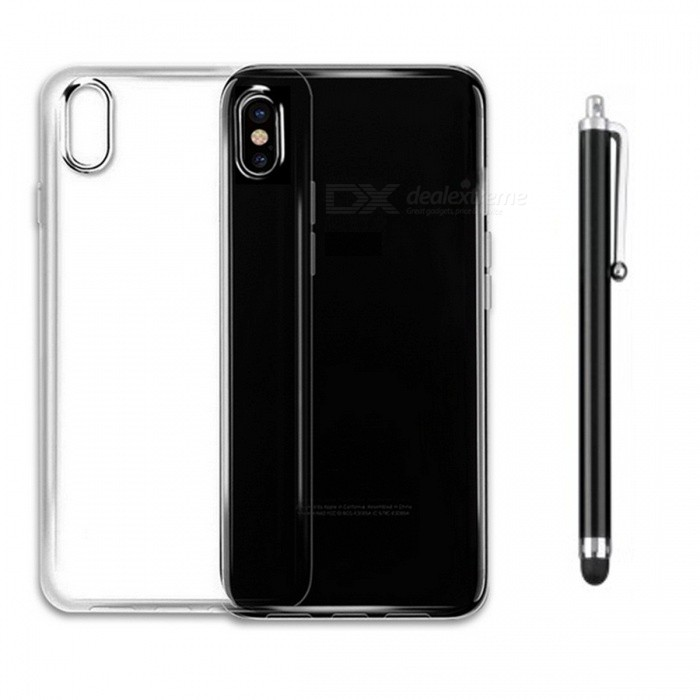 SZKINSTON Shockproof TPU Back Case med kapacitiv penna till IPHONE X