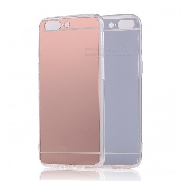 TPU PC Mirror Back Case Cover for Oneplus 5 - Translucent Rose Gold