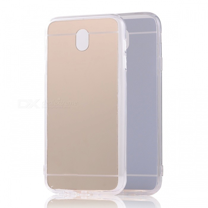 TPU + PC Mirror Back Case for Samsung Galaxy J730 (2017) / J7 ProTPU Cases<br>Form  ColorGoldenModelN/AQuantity1 pieceMaterialOthers,TPU + PCShade Of ColorGoldCompatible ModelsSamsung Galaxy J730 (2017) / J7 ProDesignSolid Color,Transparent,With Anti Dust Plug,Others,MirrorStyleBack CasesPacking List1 x Case<br>