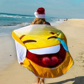 Super Soft Fiber Cry Smile Emoji Pattern Beach Towel Sunscreen Shawl