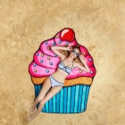 Soft Fiber 3D Printing Ice Cream Pattern Beach Towel Sunscreen Shawl