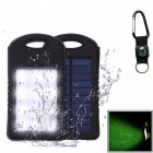 """8000mAh"" Dual USB Solar Power Bank with Compass - Black, White"