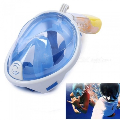 OUMILY L-XL Full Face Snorkeling Diving Swimming Mask for Gopro - Blue