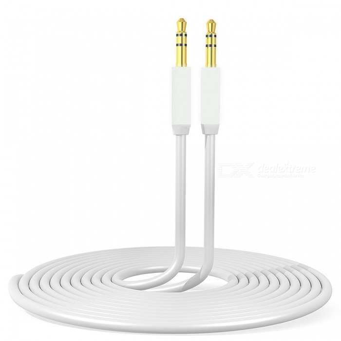 3.5mm Zinc Alloy Housing Premium Auxiliary Cable - White (1m)Audio And Video Cables<br>Form  ColorWhite + Golden + Multi-ColoredModels4004MaterialMetal + Zinc Alloy + TPEQuantity1 pieceShade Of ColorWhiteCable Length100 cmConnector GenderMale to MaleConnector3.5mmPacking List1 x AUX cable<br>