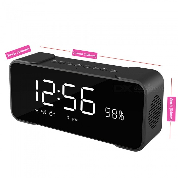 hi fi portable wireless stereo speaker with alarm clock black free shipping dealextreme. Black Bedroom Furniture Sets. Home Design Ideas