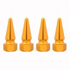MZ Spike Style Rims Tire Valve Stem Caps for Car - Golden (4 PCS)
