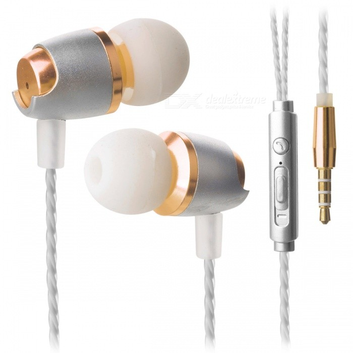 JEDX Universal 3.5mm Wired Super Bass In-Ear Earphone - Golden
