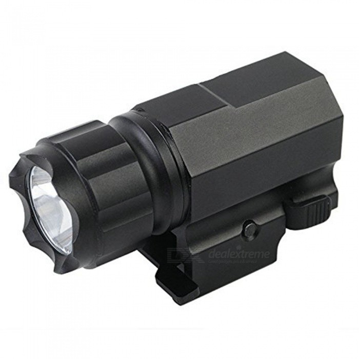 P05 2-Mode Pistol Handgun Torch Light, LED Tactical Gun FlashlightOther Batteries Flashlights<br>Form  ColorWhite + BlackModelP05Quantity1 DX.PCM.Model.AttributeModel.UnitMaterialAluminum alloyOther FeaturesWaterproof,TacticalBrandOthers,NoEmitter BrandCreeLED TypeXP-GEmitter BINR5Number of Emitters1Color BINCold WhiteWorking Voltage   2.4-3.7 DX.PCM.Model.AttributeModel.UnitPower SupplyCR2/TR15270Current500 DX.PCM.Model.AttributeModel.UnitActual Lumens210 DX.PCM.Model.AttributeModel.UnitRuntime1-2 DX.PCM.Model.AttributeModel.UnitNumber of Modes2Mode ArrangementOthers,Steady on / Fast strobe (Double click to enter fast strobe mode)Mode MemoryNoSwitch TypeForward clickySwitch LocationSideLensGlassReflectorAluminum SmoothBeam Range90 DX.PCM.Model.AttributeModel.UnitStrap/ClipNoOutput(lumens)1-200Runtime(hours)0.1-1Packing List1 x Flashlight<br>