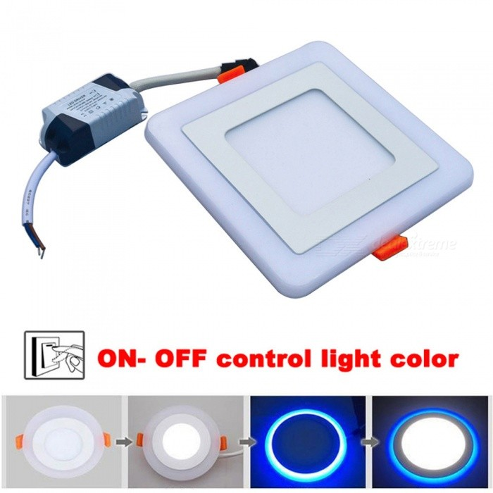 JIAWEN Square Shape 9W 3-Mode LED Downlight Panel Light (AC 85-265V)Ceiling Light<br>Form  ColorWhite (Square)Color BINBlue + White (9W)Quantity1 pieceMaterialIron + AcrylicPower9WRated VoltageAC 85-265 VChip BrandEpistarEmitter Type3528 SMD LEDTotal Emitters45Theoretical Lumens720-900 lumensActual Lumens720 lumensColor Temperature12000K,Others,6000-6500KDimmableNoBeam Angle180 °External Diameter14.5 cmHole diameter9 cmHeight3 cmPacking List1 x LED Panel Light<br>