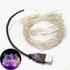 YouOKLight 10m USB 7-Color 100-LED DIY Strobe Silver Wire String Light