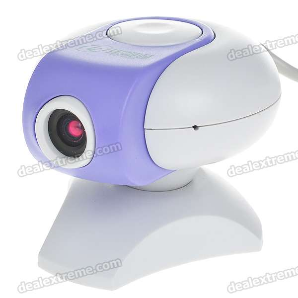 Compact 350KP PC USB Webcam (White + Purple)