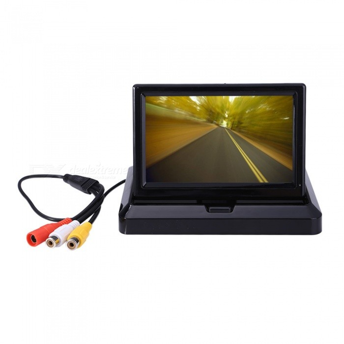 KELIMA HD 5.0 Folding Car Reversing Display with Camera - BlackCar Monitors<br>Form  ColorBlackModelN/AQuantity1 setMaterialABSStyleSun VisorScreen Size5.0 inchesScreen Resolution480 * 272 * RGBTouch Screen TypeNoDetachable PanelNoBrightness ControlNoMenu LanguageOthers,NOFunctionBuilt-in speakerVideo SystemPAL,NTSCAudio Input1 channelVideo Input2 channelsInterface/PortAV INHeadphone JackOthers,NOExternal Memory Max. SupportNo BPower Consumption3WWorking Voltage   12-24 VWorking Temperature-10-50 ?Storage Temperature-30-60Other FeaturesWhen reversing, the screen automatically switches to the reverse screen<br>When not in use, foldable collection, more convenient to use, beautiful and generousPacking List1 x 5 display1 x Small Quartet reversing camera1 x AV cable2 x Power cords2 x Screws1 x English manual<br>