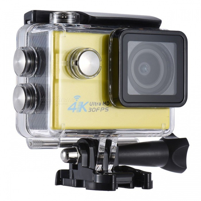 2 Ultra HD 4K 1080P 16MP 4X Zoom Wi-Fi Sport Camera - YellowSport Cameras<br>Form  ColorYellow + BlackShade Of ColorYellowMaterialABSQuantity1 DX.PCM.Model.AttributeModel.UnitImage SensorOthers,16Mega Pixels CMOS SensorAnti-ShakeYesFocal DistanceFocusing RangePhotographed function: Panoramic (5M/8M/12M/16M) DX.PCM.Model.AttributeModel.UnitFocusing RangeFocusing RangePhotographed function: Panoramic (5M/8M/12M/16M)Optical Zoom4XDigital Zoom4XEffective Pixels4K 30fps/2.7K 30fps/1080P 60fps/1080P 30fps/720P 120fps/720P 60fps/720P 30fpsImagesJPGStill Image Resolution16MP(4640*3480)/12MP(4032*3024)/8MP(3264*2448)/5MP(2592*1944)/2MP(1920*1080).VideoMOVVideo ResolutionVideo resolution of 4K 30fpsinterpolated/2.7K 30fps/1080P 60fps/1080P 30fps/720P 90fps/720P 60fps/720P 30fps.Video Frame Rate30,60Cycle RecordYesISO100Exposure Compensation3;+1.0;+2Supports Card TypeSDSupports Max. Capacity64 DX.PCM.Model.AttributeModel.UnitBuilt-in Memory / RAMNoLCD ScreenYesScreen Size2 DX.PCM.Model.AttributeModel.UnitBattery Measured Capacity 900 DX.PCM.Model.AttributeModel.UnitNominal Capacity900 DX.PCM.Model.AttributeModel.UnitBattery included or notYesPacking List1 x Camera1 x Battery1 x Waterproof Case8 x Mount Tools1 x Camera Clip1 x Clip2 x Helmet Mounts4 x Bandages2 x Adhesives4 x Tethers1 x Metal Tether1 x Protective Back1 x USB Cable1 x Clean Cloth<br>