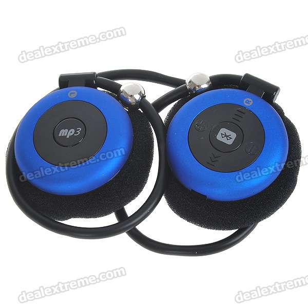 Sport MP3 Player + Bluetooth V1.2 Headset - Black + Blue (6-Hour Talk/120-Hour Standby)