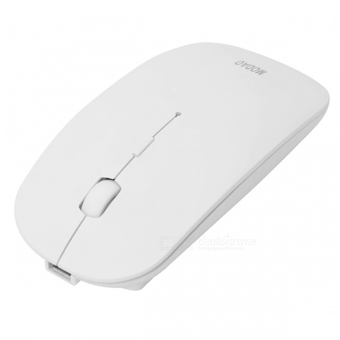 MODAO Thin Silent Recharegeable 2.4G Wireless Mouse - WhiteWireless Mouse<br>Form  ColorWhiteModelE56Quantity1 DX.PCM.Model.AttributeModel.UnitMaterialABSShade Of ColorWhiteInterfaceUSB 2.0Wireless or Wired2.4G WirelessOptical TypeLEDResolution800-1200-1600Button life8 MillionBluetooth VersionNoOperating Range10 DX.PCM.Model.AttributeModel.UnitPowered ByBuilt-in BatteryBattery included or notYesBattery Capacity500 DX.PCM.Model.AttributeModel.UnitSupports SystemWin xp,Win 2000,Win 2008,Win vista,Win7 32,Win7 64,Win8 32,Win8 64,MAC OS X,Linux,Android 2.x,Android 4.xTypeOthers,SilentPacking List1 x 2.4G wireless mouse1 x Nano receiver1 x Charging cable<br>