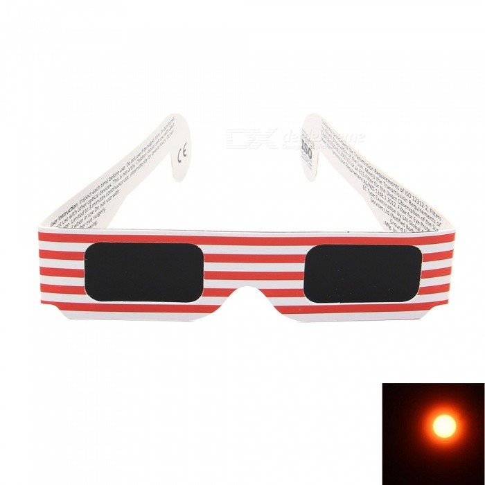Geekworm American Flag Pattern 3D Solar Eclipse Glasses - Red