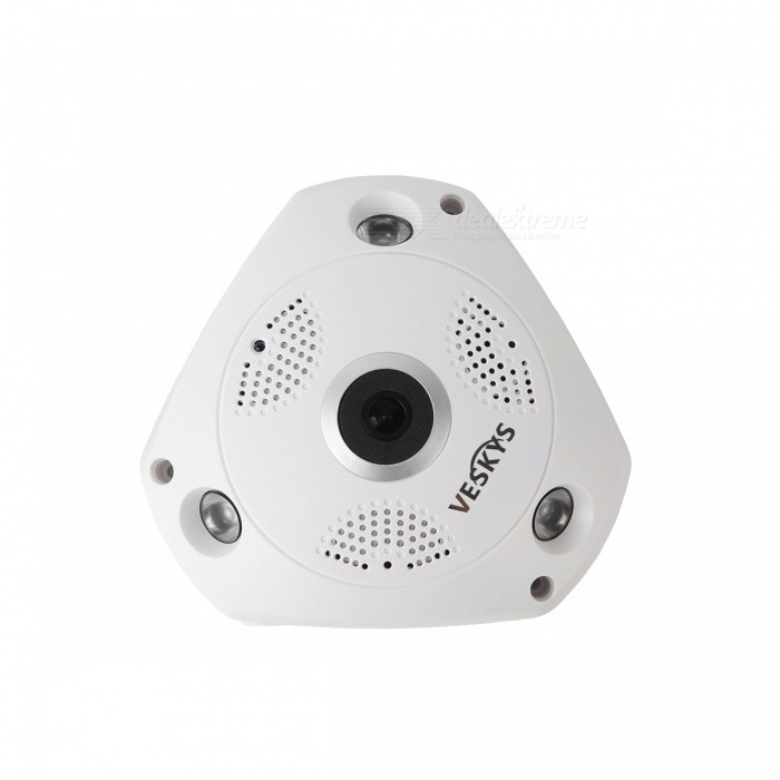 VESKYS 360 Degree HD 960P Full View IP Wi-Fi Camera (EU Plug)IP Cameras<br>Form  ColorWhitePower AdapterEU PlugMaterialABSQuantity1 DX.PCM.Model.AttributeModel.UnitImage SensorCMOSImage Sensor SizeOthers,1/4 inchPixels1.3MPLensOthers,1.44mmViewing AngleOthers,360 DX.PCM.Model.AttributeModel.UnitVideo Compressed FormatH.264Picture Resolution1280* 960Frame Rate25FPSNight VisionYesIR-LED Quantity3Night Vision Distance10 DX.PCM.Model.AttributeModel.UnitWireless / WiFi802.11 b / g / nNetwork ProtocolTCP,IP,UDP,HTTP,SMTP,uPnP,PPPoE,TFTPSupported Systems2003,XP,7Supported BrowserOthers,NOSIM Card SlotNoOnline Visitor4IP ModeDynamicMobile Phone PlatformAndroid,iOSFree DDNSnoIR-CUTYesBuilt-in Memory / RAMNoLocal MemoryYesMemory CardTF cardMax. Memory Supported64GBMotorNoSupported LanguagesEnglish,Simplified ChineseWater-proofNoRate Voltage12VRated Current1 DX.PCM.Model.AttributeModel.UnitIntercom FunctionYesPacking List1 x 360 Degree IP Camera 1 x Pack of installation accessories1 x English user manual1 x EU plug power adapter<br>