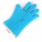 Heat Resistant Silicone Glove Oven Pot Holder BBQ Cooking Mitts - Blue