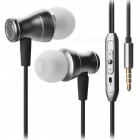 JEDX Magnetic Adsorption In-Ear Music Earphone with Mic - Black
