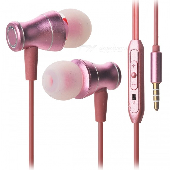 JEDX Magnetic Adsorption Ear Ear Music Earphone med Mic - Pink