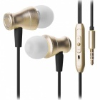 JEDX Magnetic Adsorption In-Ear Music Earphone with Mic - Golden