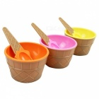 Durable Children's Plastic Ice Cream Bowl Spoon Set - Yellow