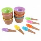 Durable Children's Plastic Ice Cream Skål Sked Set - Gul