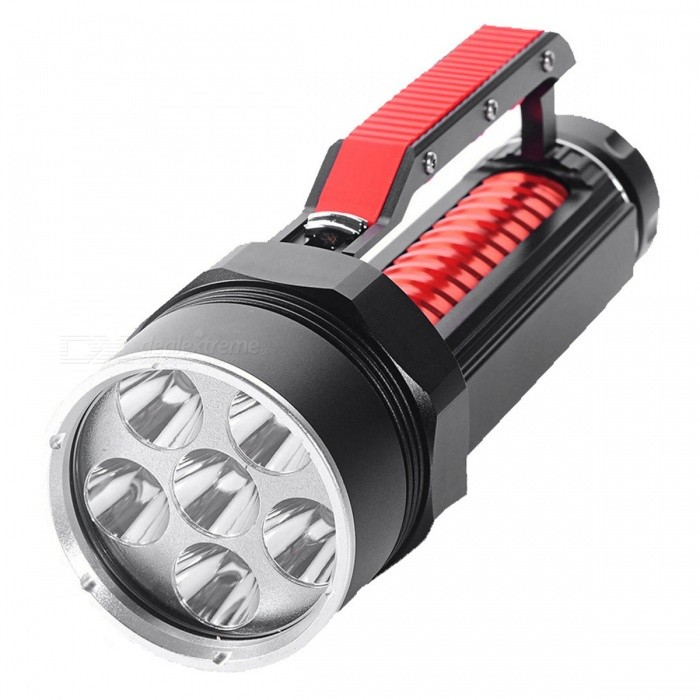 SPO L2 6-LED Magnetic Dimming 3-Mode High Power Diving FlashlightDiving Flashlights<br>Form  ColorBlack + RedQuantity1 DX.PCM.Model.AttributeModel.UnitMaterialAluminium alloyEmitter BrandCreeLED TypeXM-LEmitter BINothers,L2Color BINWhiteNumber of Emitters6Theoretical Lumens8000 DX.PCM.Model.AttributeModel.UnitActual Lumens8000 DX.PCM.Model.AttributeModel.UnitPower Supply18650Working Voltage   8.4 DX.PCM.Model.AttributeModel.UnitCurrent1 DX.PCM.Model.AttributeModel.UnitRuntime3-5 DX.PCM.Model.AttributeModel.UnitNumber of ModesOthers,Low light to strong lightMode ArrangementHi,Mid,LowMode MemoryNoSwitch TypeOthers,MagnetronSwitch LocationOthers,Handle topLens MaterialGlassReflectorAluminum SmoothWorking Depth Underwater100 DX.PCM.Model.AttributeModel.UnitStrap/ClipNoPacking List1 x Waterproof flashlight<br>