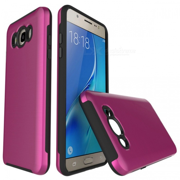 Protective Wire Drawing PC TPU Case for Samsung Galaxy J510 -Deep Pink