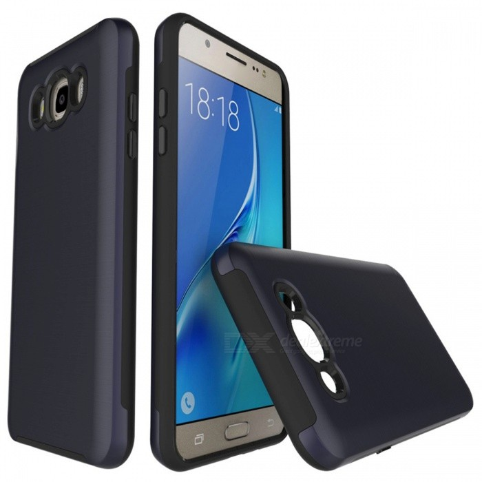 Protective Wire Drawing PC TPU Case for Samsung Galaxy J510 - Navy