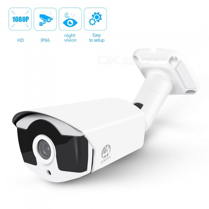 JOOAN HD 1080P CCTV Analog Security TVI Bullet Camera - WhiteCCTV Cameras<br>Form  ColorWhiteModelJA-434GRKMaterialAluminum alloyQuantity1 pieceImage SensorCCDImage Sensor SizeOthers,1/3Pixels1080PPicture Resolution1960*1080Lens3.6mmViewing AngleOthers,75.9 °Daytime25Minimum Illumination0.01LUXImaging ColorColor,Black and whiteVideo / Audio Compression FormatH.264Night VisionYesNight Vision Distance10 mVideo SystemPAL,NTSCWater-proofIP66Power AdaptornoPower AdapterOthers,NO Power AdapterPacking List1 x 1080P HD Analog Bullet Camera (30cm-cable)1 x English user manual1 x Screw<br>