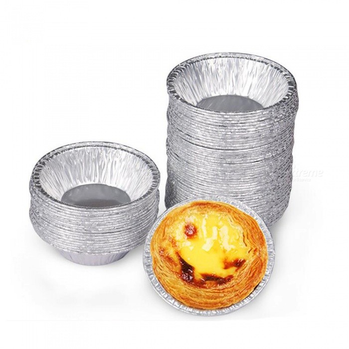 P-TOP Disposable Egg Tart Baking Trays Molds (100 PCS)Food Molds<br>Form  ColorWhite SilverMaterialFoil PaperQuantity100 piecesPacking List100 x Cake Moulds<br>