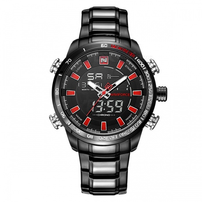 NaviForce 9093 Mens Sports Army Metal Wrist Quartz Watch - Black, RedSport Watches<br>Form  ColorBlack + Red (With Gift Box)ModelNF9093Quantity1 pieceShade Of ColorBlackCasing MaterialStainless SteelWristband MaterialStainless SteelSuitable forAdultsGenderMenStyleWrist WatchTypeSports watchesDisplayAnalog + DigitalMovementQuartzDisplay Format12/24 hour time formatWater ResistantWater Resistant 3 ATM or 30 m. Suitable for everyday use. Splash/rain resistant. Not suitable for showering, bathing, swimming, snorkelling, water related work and fishing.Dial Diameter4.8 cmDial Thickness1.6 cmWristband Length24.5 cmBand Width2.4 cmBattery1 x Button batteryPacking List1 x Watch1 x Gift Box<br>