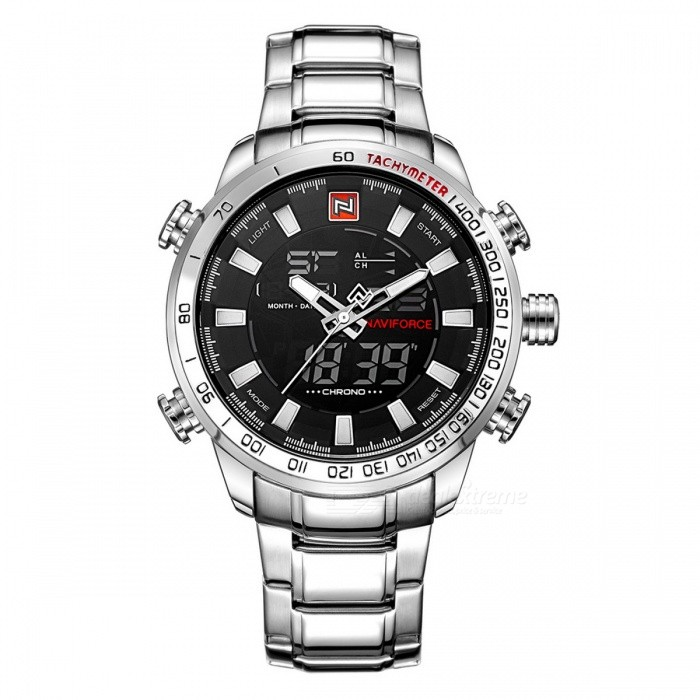 NaviForce 9093 Mens Sports Metal Wrist Quartz Watch - Silver, WhiteSport Watches<br>Form  ColorSilver + White (With Gift Box)ModelNF9093Quantity1 DX.PCM.Model.AttributeModel.UnitShade Of ColorSilverCasing MaterialStainless SteelWristband MaterialStainless SteelSuitable forAdultsGenderMenStyleWrist WatchTypeSports watchesDisplayAnalog + DigitalMovementQuartzDisplay Format12/24 hour time formatWater ResistantWater Resistant 3 ATM or 30 m. Suitable for everyday use. Splash/rain resistant. Not suitable for showering, bathing, swimming, snorkelling, water related work and fishing.Dial Diameter4.8 DX.PCM.Model.AttributeModel.UnitDial Thickness1.6 DX.PCM.Model.AttributeModel.UnitWristband Length24.5 DX.PCM.Model.AttributeModel.UnitBand Width2.4 DX.PCM.Model.AttributeModel.UnitBattery1 x Button batteryPacking List1 x Watch1 x Gift Box<br>