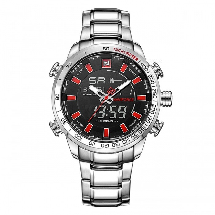 NaviForce 9093 Mens Sports Metal Wrist Quartz Watch - Silver, RedSport Watches<br>Form  ColorSilver + Red (With Gift Box)ModelNF9093Quantity1 DX.PCM.Model.AttributeModel.UnitShade Of ColorSilverCasing MaterialStainless SteelWristband MaterialStainless SteelSuitable forAdultsGenderMenStyleWrist WatchTypeSports watchesDisplayAnalog + DigitalMovementQuartzDisplay Format12/24 hour time formatWater ResistantWater Resistant 3 ATM or 30 m. Suitable for everyday use. Splash/rain resistant. Not suitable for showering, bathing, swimming, snorkelling, water related work and fishing.Dial Diameter4.8 DX.PCM.Model.AttributeModel.UnitDial Thickness1.6 DX.PCM.Model.AttributeModel.UnitWristband Length24.5 DX.PCM.Model.AttributeModel.UnitBand Width2.4 DX.PCM.Model.AttributeModel.UnitBattery1 x Button batteryPacking List1 x Watch1 x Gift Box<br>