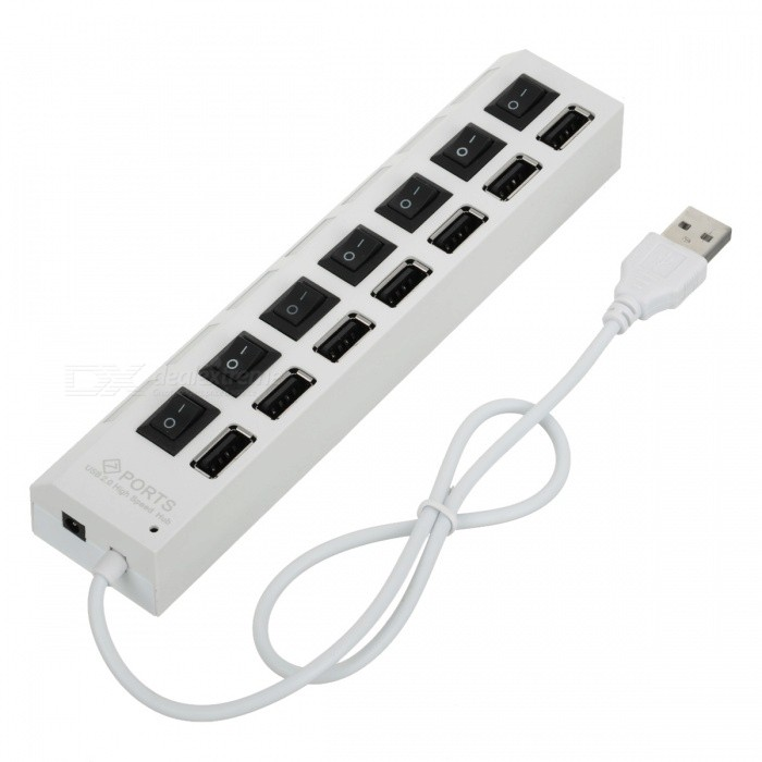 7-Port USB2.0 Hub with Separate Switch - WhiteOther Consumer Electronics<br>Form  ColorWhiteMaterialPlasticQuantity1 piecePower AdapterOthers,USBPower Supply5V 0.5APacking List1 x USB HUB1 x USB Cable<br>