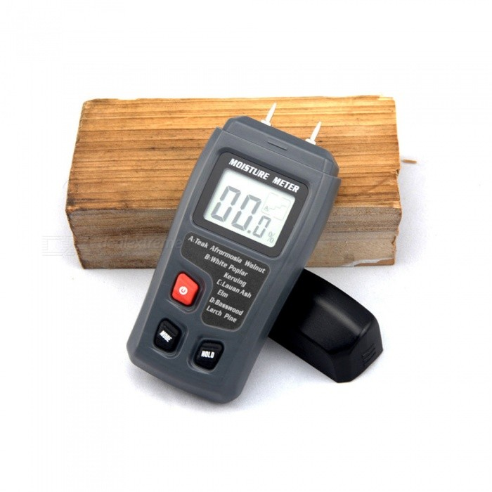 Wood Moisture Meter Tester Hygrometer - BlackTesters &amp; Detectors<br>Form  ColorBlackModelN/AQuantity1 DX.PCM.Model.AttributeModel.UnitMaterialABSPowered ByOthers,9V batteryBattery Number1Battery included or notNoPacking List1 x Tester<br>