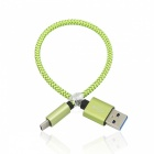2Pcs 3.4A USB3.1 Type-C to USB 2.0 Charging Data Cables - Green (20cm)