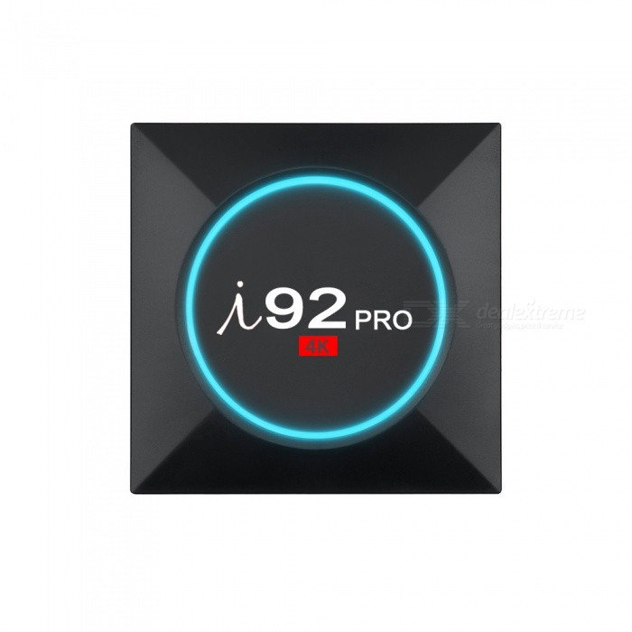 I92 Pro Android 6.0 Octa-Core Smart TV Box with 2GB, 16GB (EU Plug)Smart TV Players<br>Form  ColorBlackBuilt-in Memory / RAM2GBStorage16GBPower AdapterEU PlugModelI92 ProQuantity1 DX.PCM.Model.AttributeModel.UnitMaterialABSShade Of ColorBlackOperating SystemAndroid 6.0ChipsetAmlogic s912 Quad core Cortex A53CPUOthers,Cortex A53Processor Frequency750MHzGPUMali-T820MP3 GPU@750MHzMenu LanguageEnglishMax Extended Capacity32GBSupports Card TypeMicroSD (TF)Wi-FiBuilt-in 2.4GHz+5GHzBluetooth VersionBluetooth V4.03G FunctionYesWireless Keyboard/Mouse2.4GAudio FormatsOthers,AACFLACMP3OGGRMWMAVideo FormatsOthers,4K4K x 2KAVSDATISOMKVMOVMPEGMPEG-4MPEG1MPEG2RMRVVP9 Profile-2WMVAudio CodecsDTS,AC3,FLACVideo CodecsOthers,H.264 / AVCH.265RealVideo8 / 9/10Picture FormatsOthers,BMPGIFPNGTIFFSubtitle FormatsMicroDVD [.sub],SubRip [.srt],Sub Station Alpha [.ssa],Sami [.smi]idx+subPGSOutput Resolution1080PHDMIHDMI 2.0  4K * 2K @60 fps.Power Supply5V 2APacking List1 x I92 Pro Android 6.0 TV Box1 x Power Adapter1 x RF Remote Controller1 x HDMI Cable1 x User Manual<br>
