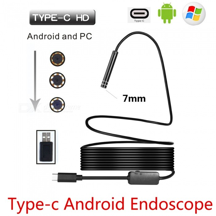 BLCR 7mm 6-LED USB Type-C Android PC Endoscope with Hardwire (5m)Microscopes &amp; Endoscope<br>Snake Cable Length5m HardwireModelN/AQuantity1 pieceForm  ColorBlackMaterialPlasticCamera Pixels0.3MPON phone,1.3MP ON ComputerCompatible OSAndroid (with type C port)/Windows 2000 / XP / Vista / 7 / 8 / 10, MacBook OSCamera head outer diameter7mmLED Bulb Qty6Packing List1 x Type-C Endoscope1 x Small Hook1 x Magnet1 x Side Audition1 x Type-C Female to USB male adapter1 x User Manual (other accessories demo in the picture is not included.)<br>