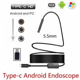 BLCR 5.5mm 6-LED USB TYPE-C Android PC 3.0MP Endoscope - Black (7m)