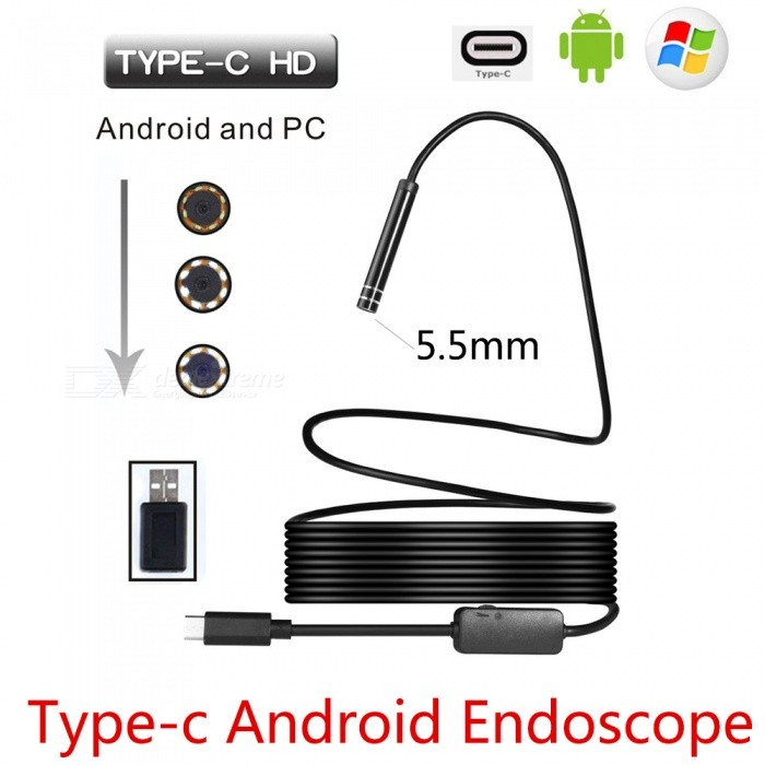BLCR 5.5mm 6-LED USB Type-C Android PC Endoscope with Hardwire (7m)Microscopes &amp; Endoscope<br>Snake Cable Length10m HardwireModelN/AQuantity1 DX.PCM.Model.AttributeModel.UnitForm  ColorBlackMaterialPlasticCamera Pixels0.3Mega pixels ON phone,1.3Mega pixels ON ComputerCompatible OSAndroid (with type C port)/Windows 2000 / XP / Vista / 7 / 8 / 10, MacBook OSCamera head outer diameter5.5mmLED Bulb Qty6InterfaceUSB TYPE-CPacking List1 x Type C Endoscope1 x Small Hook1 x Magnet1 x Side Audition1 x Type C Female to USB male adapter1 x User Manual(other accessories demo in the picture is not included.)<br>