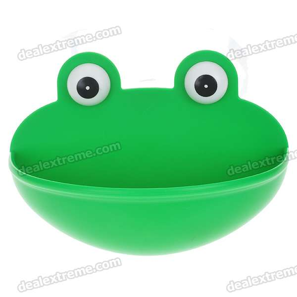 Unique Cute Frog Style Soap Dish Holder with Suction Cups
