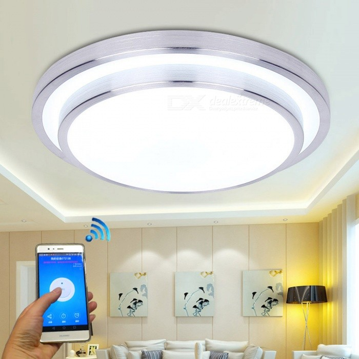 JIAWEN 15W LED Smart Wi-Fi Wireless Ceiling LightSmart Lighting<br>Form  ColorWhite + SilverColor BINCold WhiteQuantity1 DX.PCM.Model.AttributeModel.UnitMaterialAluminum + PCPowerOthers,15WRated VoltageOthers,110-265 DX.PCM.Model.AttributeModel.UnitChip BrandEpistarEmitter TypeOthers,5730SMDTotal Emitters36Theoretical Lumens1200-1500 DX.PCM.Model.AttributeModel.UnitActual Lumens1200 DX.PCM.Model.AttributeModel.UnitColor Temperature12000K,Others,3000-3200KDimmableNoBeam Angle180 DX.PCM.Model.AttributeModel.UnitPacking List1 x LED Ceiling light<br>
