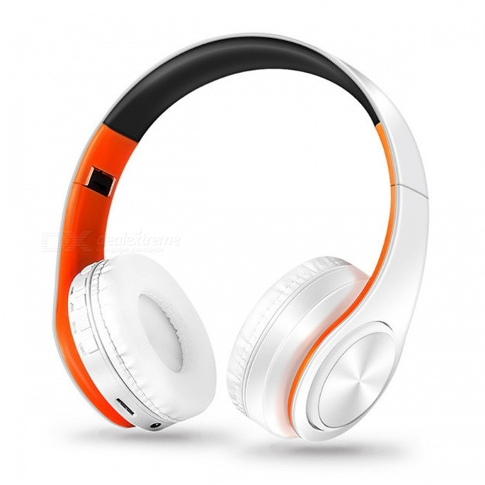 Bluetooth Wireless Stereo Sport Headphone with Mic - White�� Orange